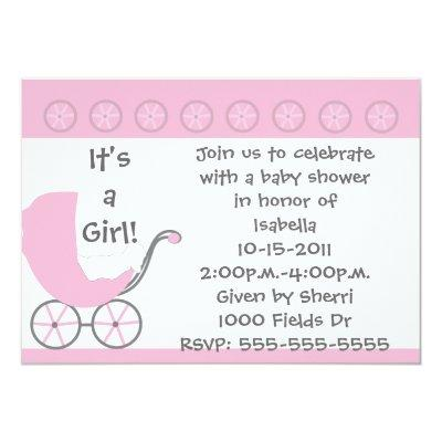 Pink Carriage It's a Girl Baby Shower Invitation