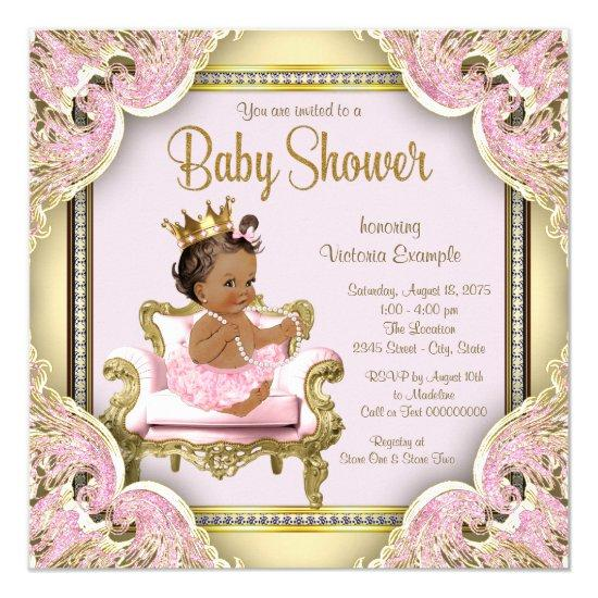 Pink Chair Pearls Pink Gold Ethnic Invitations