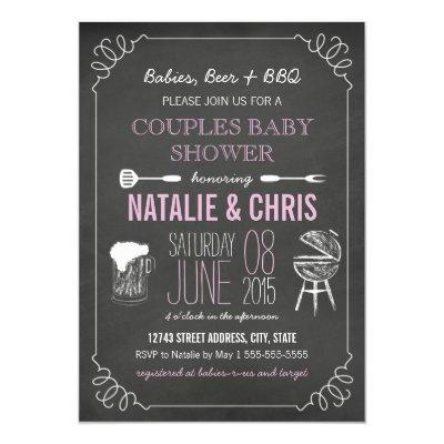 Pink Chalkboard Couples BBQ Baby Shower Invite