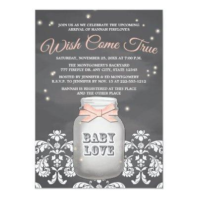 Pink Chalkboard Firefly Mason Jar Invitations