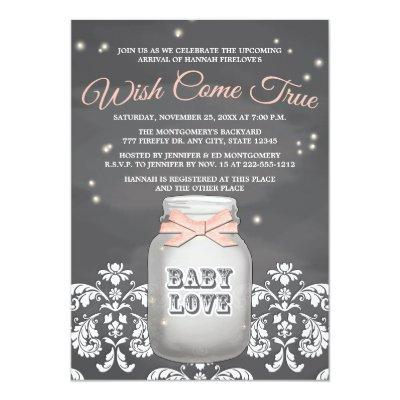 Pink Chalkboard Firefly Mason Jar Baby Shower Invitation