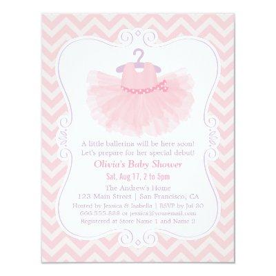 Pink Chevron Ballerina Tutu Girl Invitations
