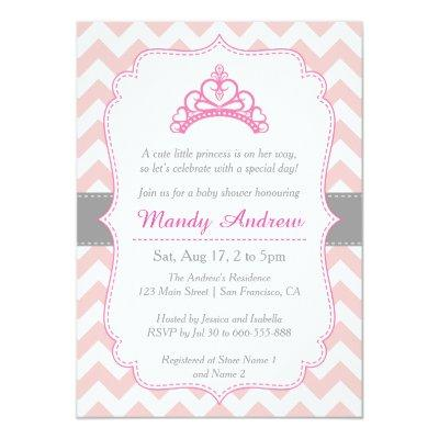 Pink Chevron, Princess Crown, Girl Invitations