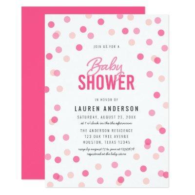 Pink Confetti Baby Shower Invitation