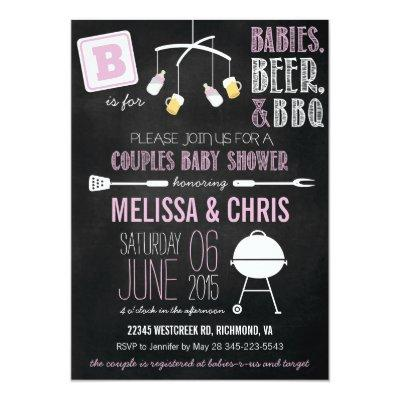 Pink Couples Baby Shower BBQ Invitations