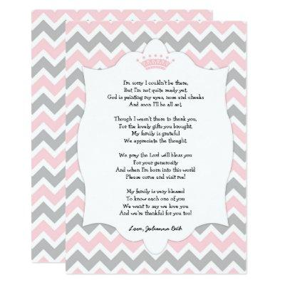 Pink Crown Baby Shower Thank you note with poem Invitations