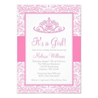Pink Damask Princess Crown Girl Baby Shower Invitation