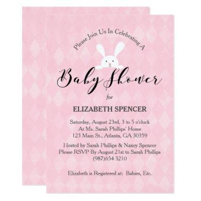 Pink Diamond White Rabbit Baby Shower Invitation