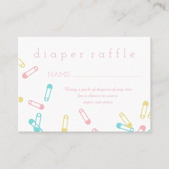 Pink Diaper Pins Baby Shower Diaper Raffle Ticket Enclosure Card