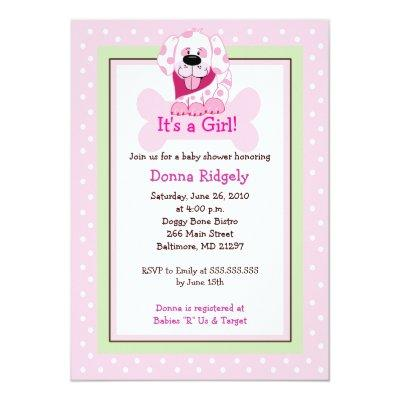 Pink Doggy Bone Puppy Dog Baby Girl Shower Invitations