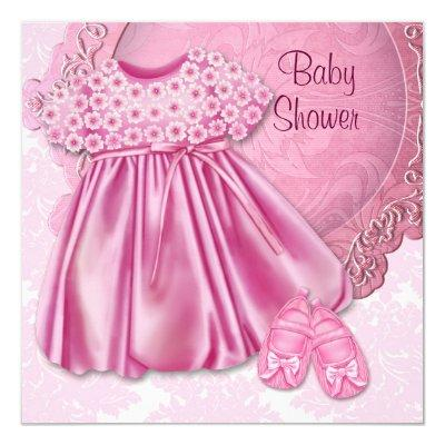 Pink Dress Pink Damask Baby Girl Shower Invitation
