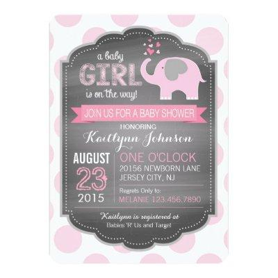 Pink Elephant and Dots Invitations