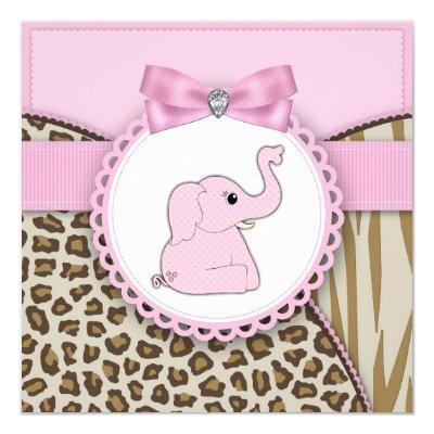 Pink Elephant Baby Girl Shower Invitations