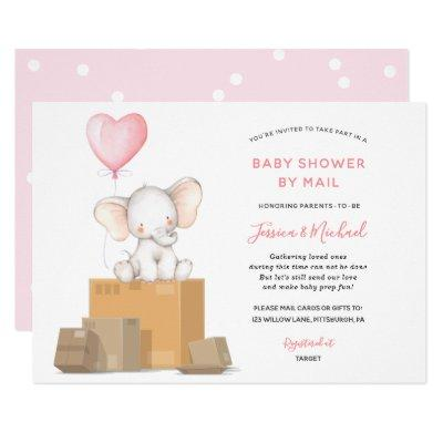 Pink Elephant Baby Shower by Mail invitation