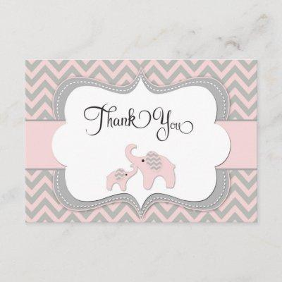 Pink Elephant Baby Shower Thank You Invitations