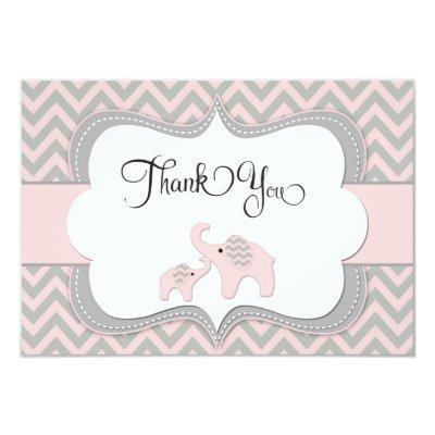 Pink Elephant Thank You Invitations