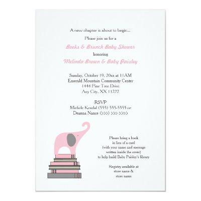 Pink Elephant Book Baby Shower / Books Brunch girl Invitations
