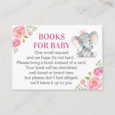 Pink Elephant Books for Baby Book Request Card