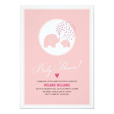 Pink Elephants Hearts Girl Baby Shower Invitations