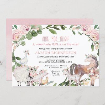 Pink Farm animals floral barnyard girl baby shower Invitation