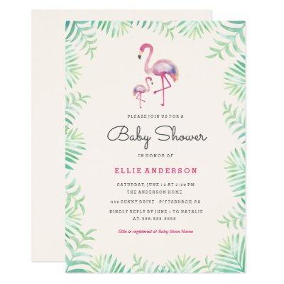 pink flamingo girl invitations