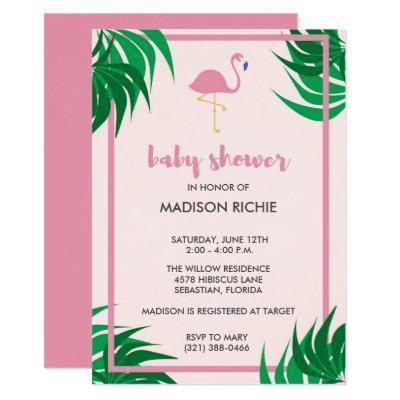 Pink Flamingo Tropical Invitations