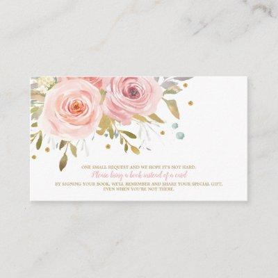 Pink Floral Baby Shower Book for Baby Bring a Book Enclosure Card