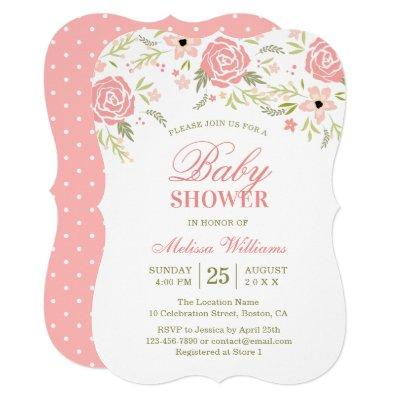 Pink Floral Baby Shower Invitations for Girl