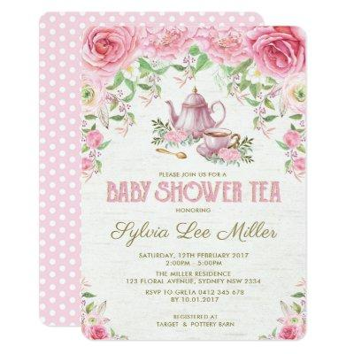 Pink Floral Baby Shower Kitchen Tea Party Invite