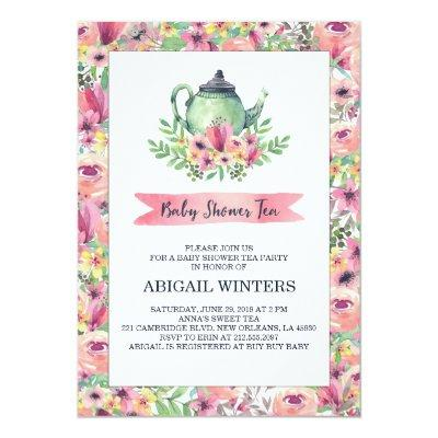 Pink Floral Baby Shower Tea Party Invitations