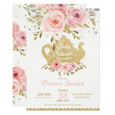Pink Floral Baby Shower Tea Party Invitation Girl