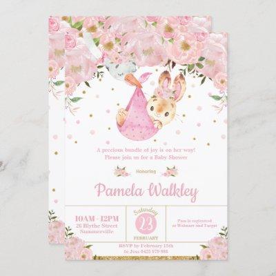 Pink Floral Bunny Stork Bundle Girl Baby Shower Invitation