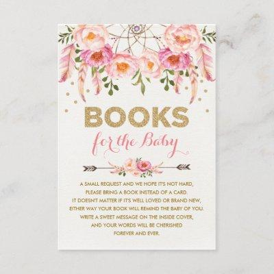 Pink Floral Dreamcatcher / Boho Books for Baby Enclosure Card