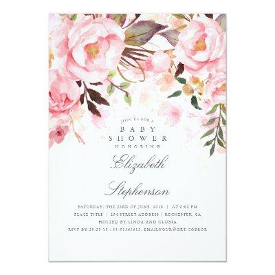 Pink Floral Elegant and Modern Baby Shower Invitation
