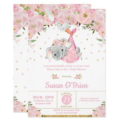 Pink Floral Elephant Stork Bundle Girl Baby Shower Invitation