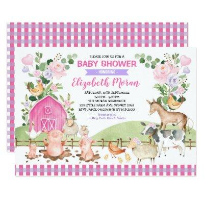 Pink Floral Farm Barnyard Animals Girl Baby Shower Invitation