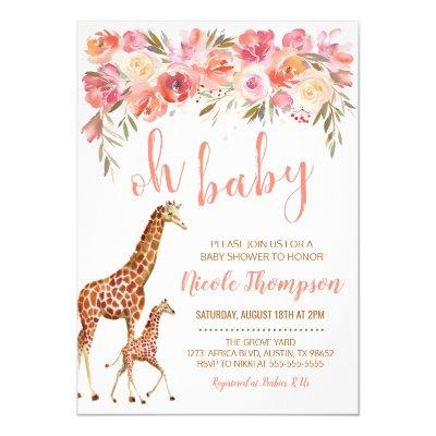 Pink Floral Giraffe Baby Shower Invitation
