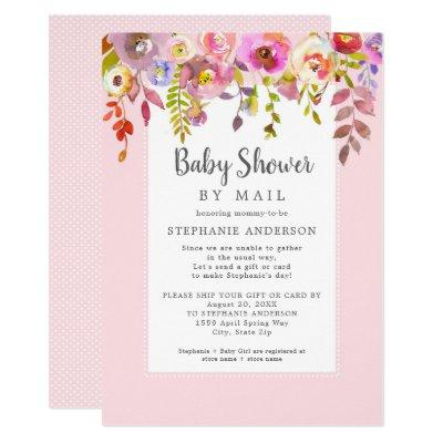 Pink Floral Girl Baby Shower by mail Invitation