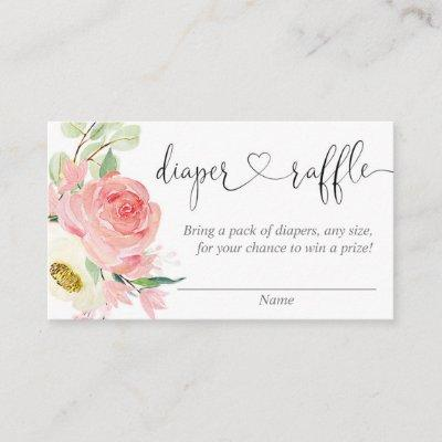 Pink floral girl baby shower diaper raffle cards