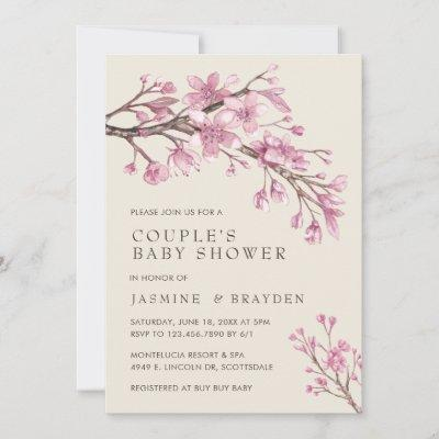 Pink Floral Girl Couples Baby Shower Invitation