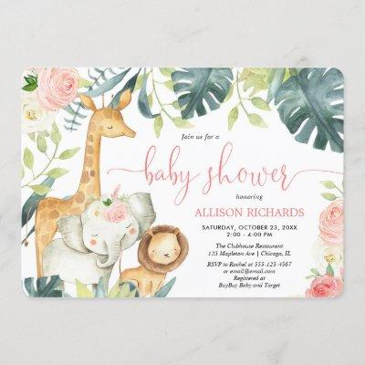 Pink floral girl safari jungle animals baby shower invitation