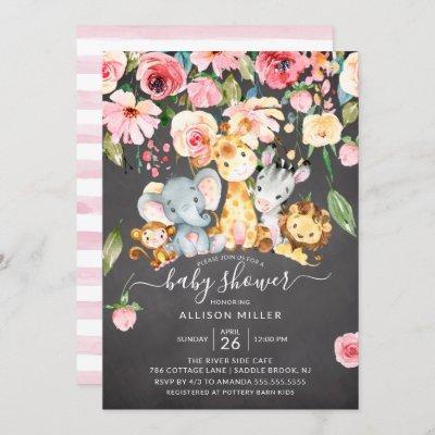 Pink Floral Girls Safari Animals Baby Shower Invitation