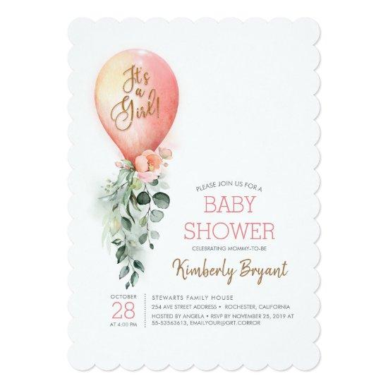 Pink Floral Greenery Balloon Baby Shower Invitation