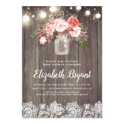 Pink Floral Mason Jar Rustic Lace Baby Shower Invitations