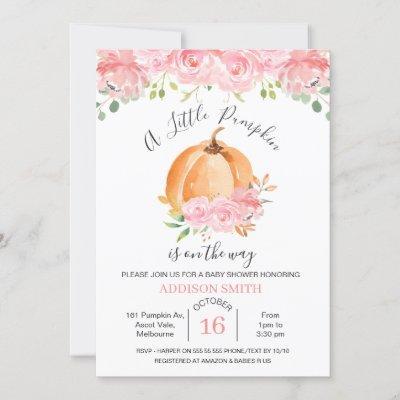 Pink Floral Orange Pumpkin Baby Shower Invitation