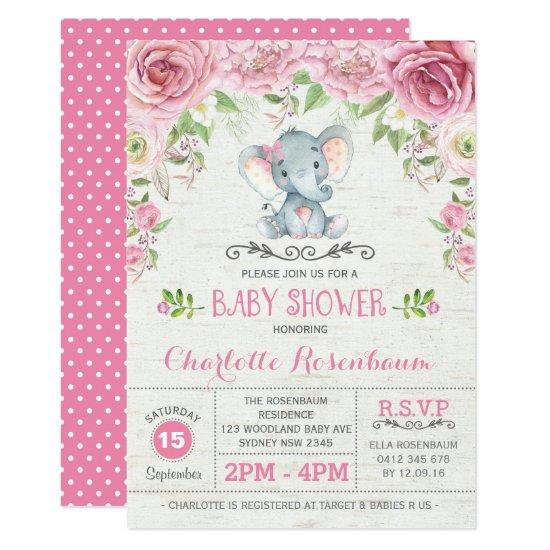 Pink Floral Roses Elephant Baby Shower Invitations