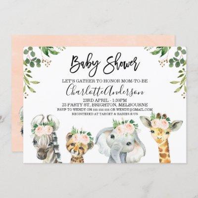 Pink Floral Safari Animals Baby Shower Invitation