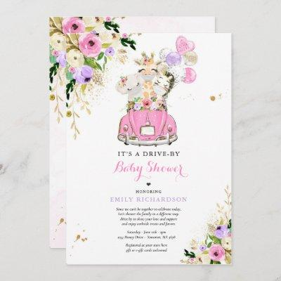 Pink Floral Safari Animals Drive By Baby Shower Invitation