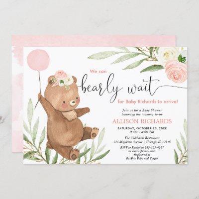 Pink floral teddy bear balloon girl baby shower invitation