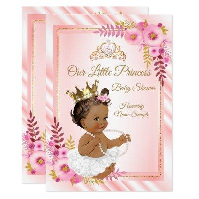 Pink Floral White Princess Baby Shower Ethnic Invitation